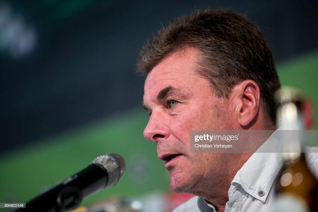 Head Coach Dieter Hecking of Borussia Moenchengladbach talks to the media during a press conference of Borussia Moenchengladbach at Borussia-Park on August 18, 2017 in Moenchengladbach, Germany.