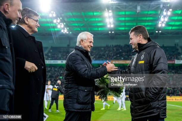 Head Coach Dieter Hecking of Borussia Moenchengladbach Vice President Rainer Bonhof of Borussia Moenchengladbach and Bureau Member Hans Meyer of...