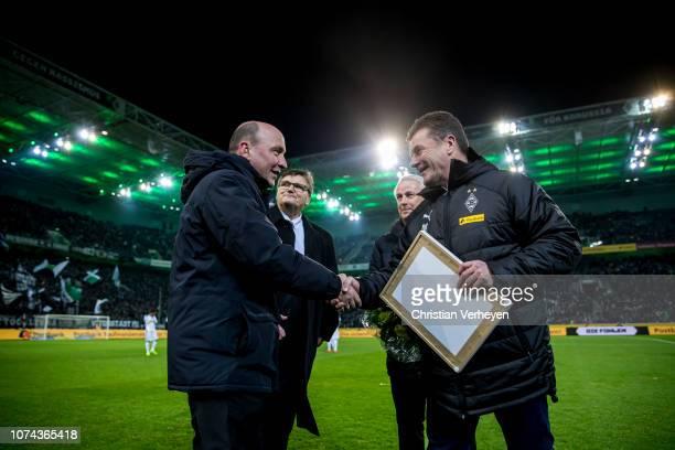 Head Coach Dieter Hecking of Borussia Moenchengladbach Vice President Rainer Bonhof of Borussia Moenchengladbach Bureau Member Hans Meyer of Borussia...