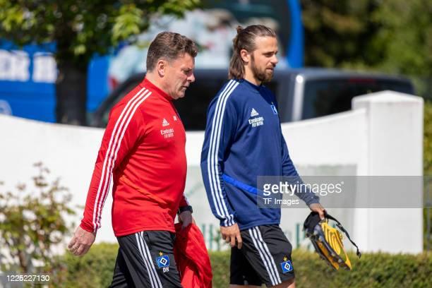 head coach Dieter Hecking of Hamburger SV and Martin Harnik of Hamburger SV during the training session of Hamburger SV on May 16 2020 in...