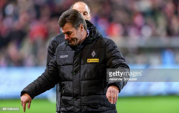 Head coach Dieter Hecking of Moenchengladbach reacts after the video assist during the Bundesliga match between Sport-Club Freiburg and Borussia...