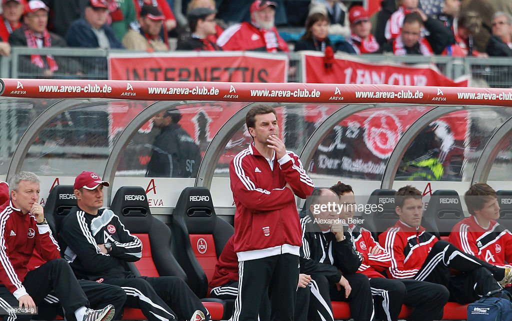 Head coach Dieter Hecking of Nuernberg reacts during the Bundesliga match between 1. FC Nuernberg and 1. FC Koeln at Easy Credit Stadium on May 8, 2010 in Nuremberg, Germany.