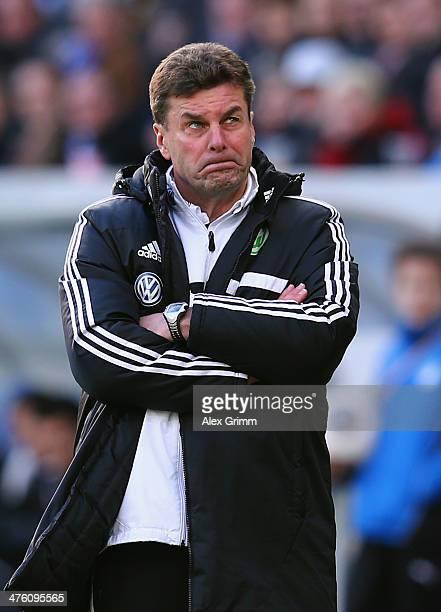 Head coach Dieter Hecking of Wolfsburg reacts during the Bundesliga match between 1899 Hoffenheim and VfL Wolfsburg at Wirsol Rhein-Neckar-Arena on...