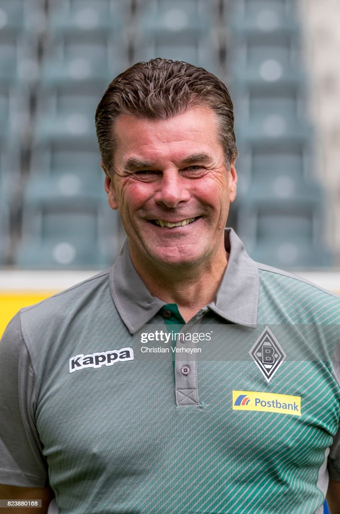 Head Coach Dieter Hecking pose during the team presentation of Borussia Moenchengladbach at Borussia-Park on July 28, 2017 in Moenchengladbach, Germany.