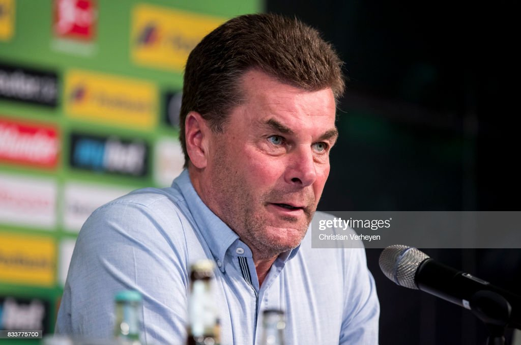 Head Coach Dieter Hecking talks to the media after Raul Bobadilla signs a new contract for Borussia Moenchengladbach at Borussia-Park on August 17, 2017 in Moenchengladbach, Germany.