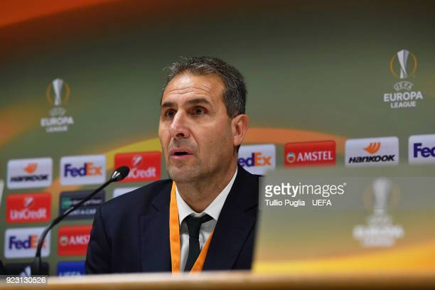 Head coach Dimitar Dimitrov of Ludogorets Razgrad answers questions during a press conference after the UEFA Europa League Round of 32 match between...