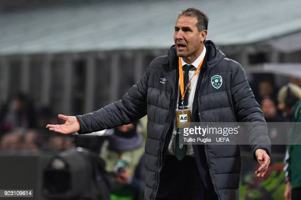 Head coach Dimitar Dimitrov of Ludogorets Razgrad issues instructions during UEFA Europa League Round of 32 match between AC Milan and Ludogorets...