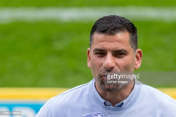 Head coach Dimitrios Grammozis of FC Schalke 04 Looks on during the Bundesliga match between TSG Hoffenheim and FC Schalke 04 at PreZero-Arena on May...