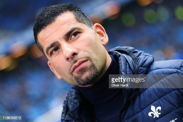 Head coach Dimitrios Grammozis of SV Darmstadt 98 looks on prior to the Second Bundesliga match between Hamburger SV and SV Darmstadt 98 at...