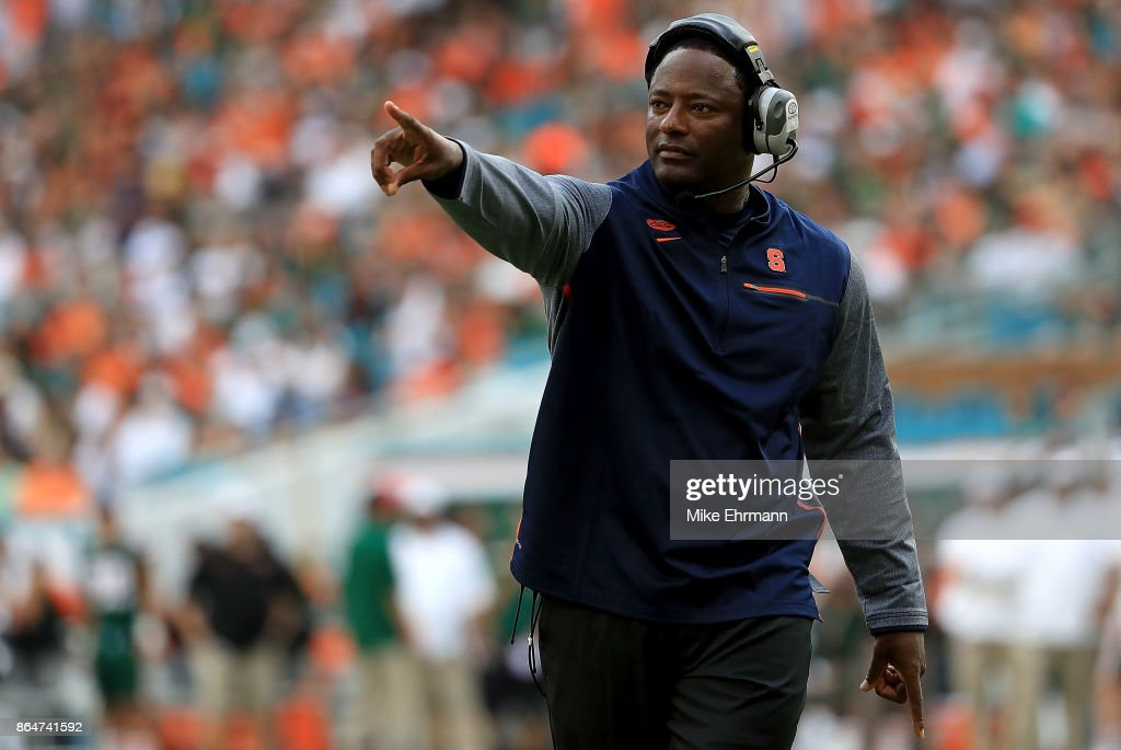 Head coach Dino Babers of the Syracuse Orange looks on during a game against the Miami Hurricanes at Sun Life Stadium on October 21, 2017 in Miami Gardens, Florida.