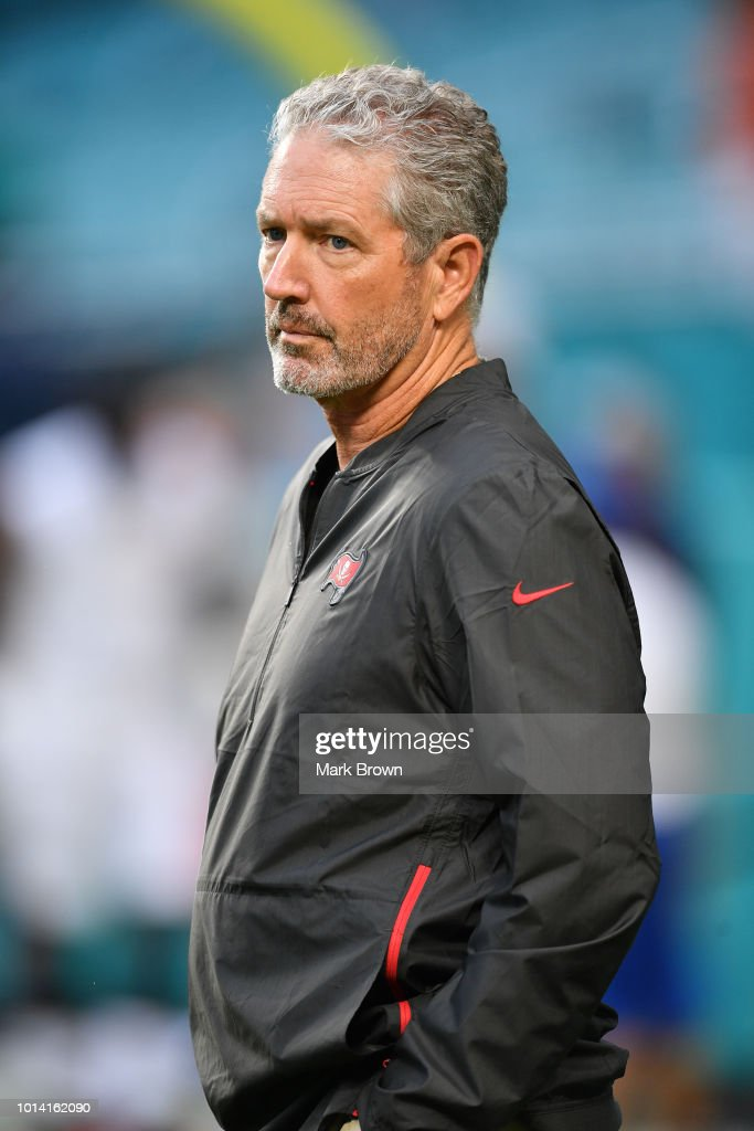 Head coach Dirk Koetter of the Tampa Bay Buccaneers before the preseason game between the Miami Dolphins and the Tampa Bay Buccaneers at Hard Rock Stadium on August 9, 2018 in Miami, Florida.