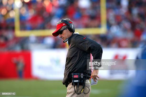 Head coach Dirk Koetter of the Tampa Bay Buccaneers looks on from the sidelines during the fourth quarter of an NFL football game against the Detroit...