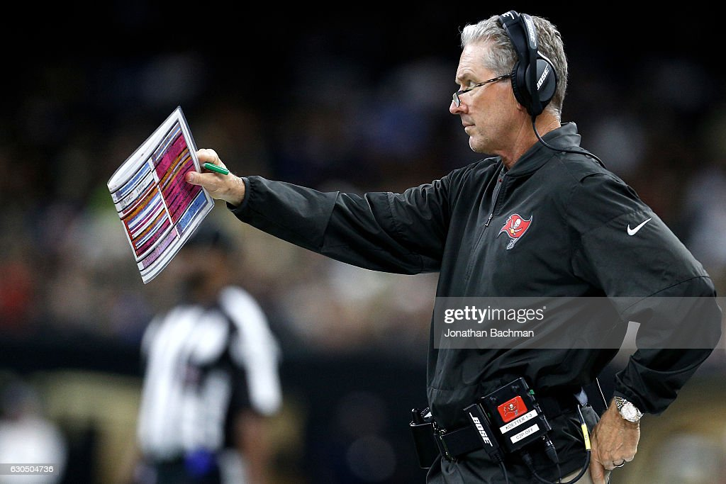 Head coach Dirk Koetter of the Tampa Bay Buccaneers watches a play against the New Orleans Saintsat the Mercedes-Benz Superdome on December 24, 2016 in New Orleans, Louisiana.