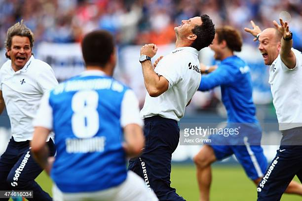 Head coach Dirk Schuster of Darmstadt celebrates after the Second Bundesliga match between SV Darmstadt 98 and FC St. Pauli at Stadion am...