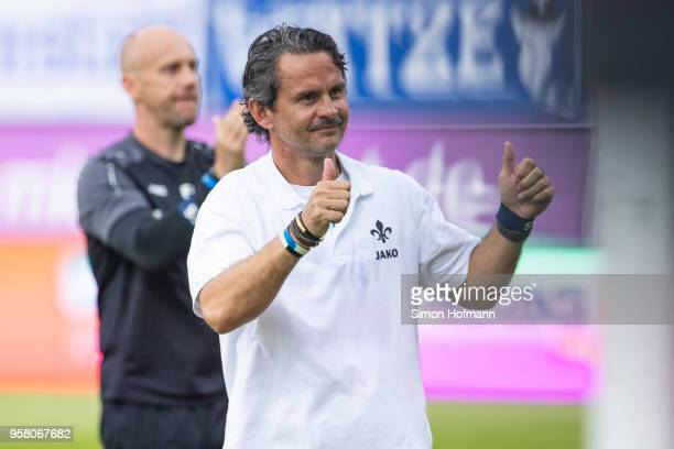 Head coach Dirk Schuster of Darmstadt celebrates winning after the Second Bundesliga match between SV Darmstadt 98 and FC Erzgebirge Aue at...