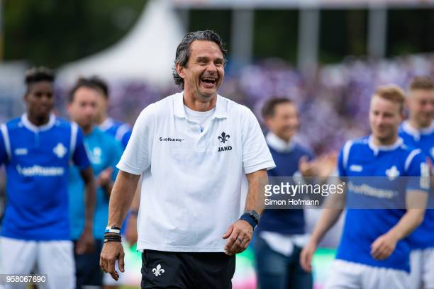 Head coach Dirk Schuster of Darmstadt celebrates winning after the Second Bundesliga match between SV Darmstadt 98 and FC Erzgebirge Aue at...