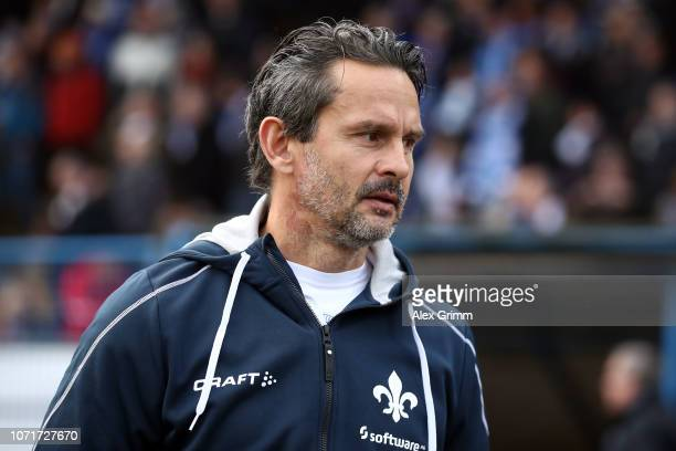 Head coach Dirk Schuster of Darmstadt looks on prior to the Second Bundesliga match between SV Darmstadt 98 and 1 FC Koeln at MerckStadion am...