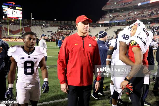 Head coach DJ Durkin of the Maryland Terrapins walks off the field following the Terrapins 663 loss to the Penn State Nittany Lions at Capital One...