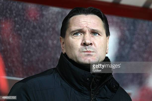Head coach Dmitri Alenichev of FC Spartak Moscow looks on during the Russian Premier League match between FC Rubin Kazan and FC Spartak Moscow at the...