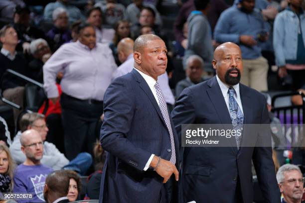 Head Coach Doc Rivers and assistant coach Mike Woodson of the Los Angeles Clippers coache against the Sacramento Kings on January 11 2018 at Golden 1...