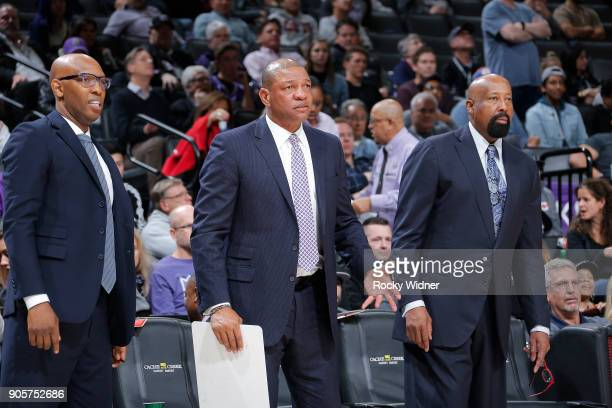 Head Coach Doc Rivers and assistant coaches Sam Cassell and Mike Woodson of the Los Angeles Clippers coache against the Sacramento Kings on January...