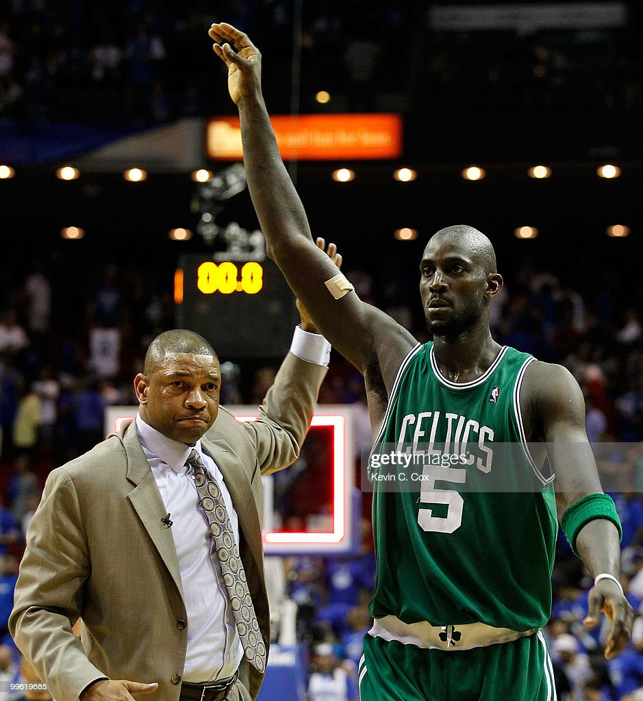 Head coach Doc Rivers and Kevin Garnett #5 of the Boston Celtics celebrate after the Celtics won 92-88 against the Orlando Magic in Game One of the Eastern Conference Finals during the 2010 NBA Playoffs at Amway Arena on May 16, 2010 in Orlando, Florida.