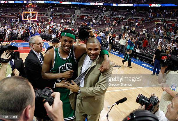 Head coach Doc Rivers and Paul Pierce of the Boston Celtics celebrate after defeating the Detroit Pistons to advance to the NBA Finals in Game Six of...