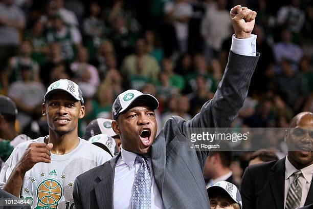 Head coach Doc Rivers and Ray Allen of the Boston Celtics celebrate after the Celtics won 9684 against the Orlando Magic in Game Six of the Eastern...