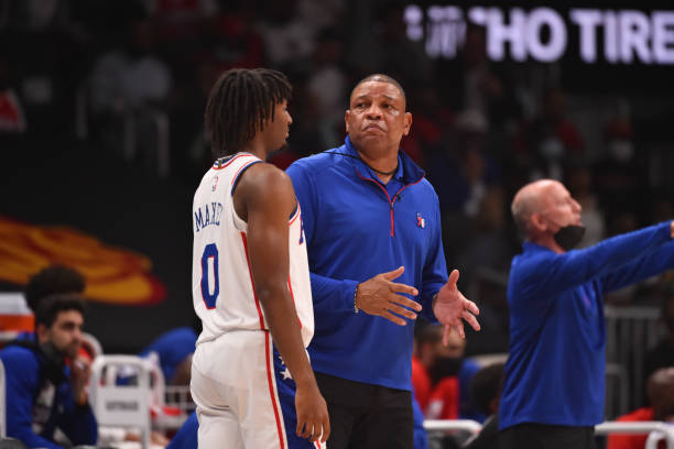 Head Coach Doc Rivers and Tyrese Maxey of the Philadelphia 76ers talk during Round 2, Game 4 of the Eastern Conference Playoffs on June 14, 2021 at...