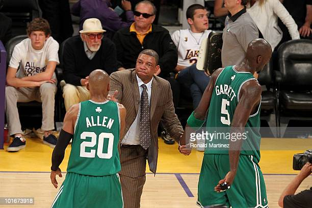 Head coach Doc Rivers of the Boston Celtics celebrates with Ray Allen and Kevin Garnett after the Celtics won 10394 against the Los Angeles Lakers of...