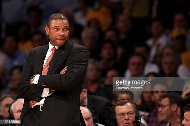 Head coach Doc Rivers of the Boston Celtics looks across the court in the first half against the Los Angeles Lakers in Game Six of the 2010 NBA...