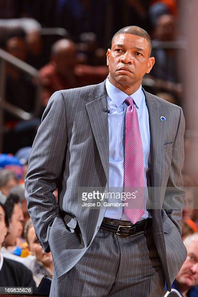 Head Coach Doc Rivers of the Boston Celtics looks on as his team plays against the New York Knicks in Game One of the Eastern Conference...