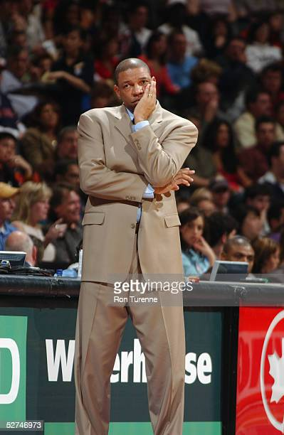 Head coach Doc Rivers of the Boston Celtics watches the game against the Toronto Raptors at Air Canada Centre on April 17 2005 in Toronto Canada The...