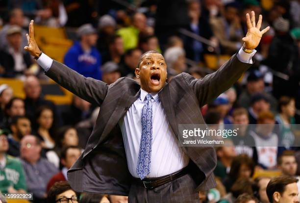 Head coach Doc Rivers of the Boston Celtics yells to his team during the game against the New York Knicks on January 24 2013 at TD Garden in Boston...