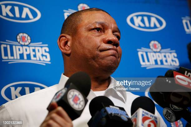 Head coach Doc Rivers of the LA Clippers addresses the media after former NBA player Kobe Bryant died in a helicopter crash prior to the game against...