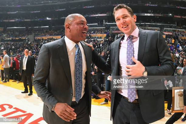 Head Coach Doc Rivers of the LA Clippers and Head Coach Luke Walton of the Los Angeles Lakers talk before the game on December 28 2018 at STAPLES...