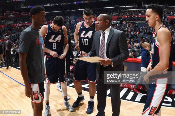 Head Coach Doc Rivers of the LA Clippers draws a play during the game against the New York Knicks on March 3 2019 at STAPLES Center in Los Angeles...