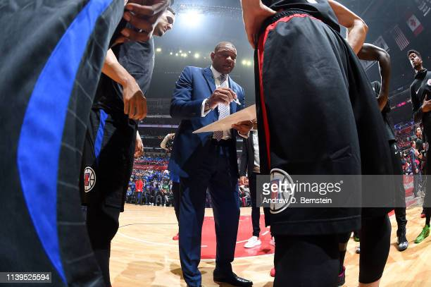 Head Coach Doc Rivers of the LA Clippers draws up a play against the Golden State Warriors during Game Six of Round One of the 2019 NBA Playoffs on...
