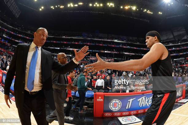 Head Coach Doc Rivers of the LA Clippers exchanges a handshake with player Tobias Harris during the game against the Dallas Mavericks on February 5...