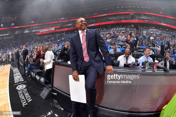 head coach Doc Rivers of the LA Clippers laughs prior to a game against the Orlando Magic on November 2 2018 at Amway Center in Orlando Florida NOTE...