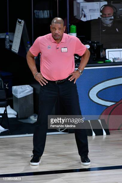 Head Coach, Doc Rivers of the LA Clippers looks on against the Denver Nuggets during Game Seven of the Western Conference SemiFinals of the NBA...