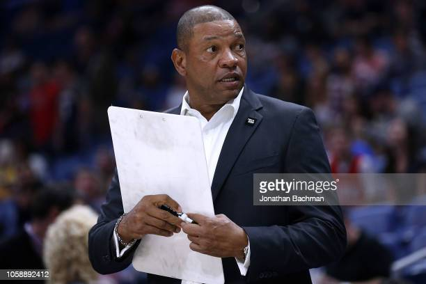 Head coach Doc Rivers of the LA Clippers reacts during a game against the New Orleans Pelicans at the Smoothie King Center on October 23 2018 in New...