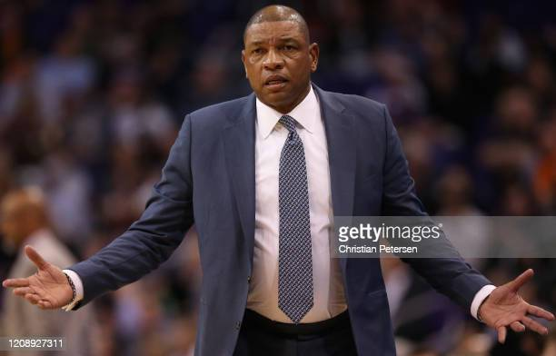 Head coach Doc Rivers of the LA Clippers reacts during the first half of the NBA game against the Phoenix Suns at Talking Stick Resort Arena on...