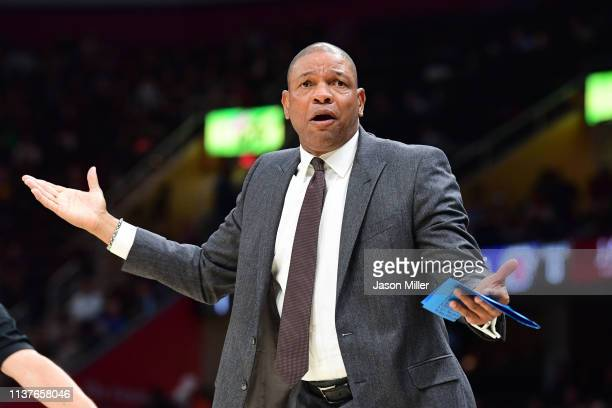 Head coach Doc Rivers of the LA Clippers reacts to a call during the first half against the Cleveland Cavaliers at Quicken Loans Arena on March 22...