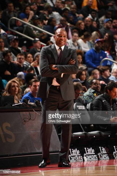 Head Coach Doc Rivers of the LA Clippers smiles during a game against the Detroit Pistons on February 2 2019 at Little Caesars Arena in Detroit...