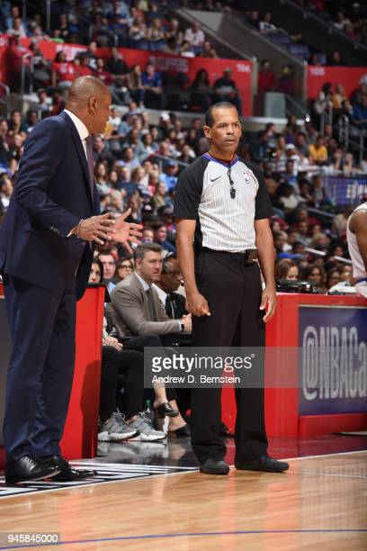 Head Coach Doc Rivers of the LA Clippers speaks to referee Eric Lewis during the game against the New Orleans Pelicans on April 9 2018 at STAPLES...