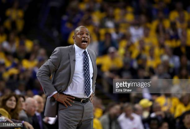 Head coach Doc Rivers of the LA Clippers stands on side of court during their game against the Golden State Warriors during Game Two of the first...