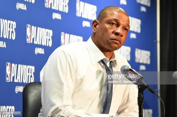 Head Coach Doc Rivers of the LA Clippers talks at the press conference after Game Four of Round One of the 2019 NBA Playoffs against the Golden State...
