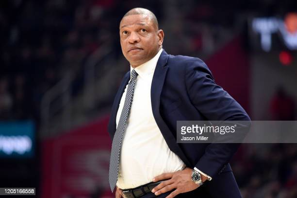 Head coach Doc Rivers of the LA Clippers watches from the sidelines during the first half against the Cleveland Cavaliers at Rocket Mortgage...