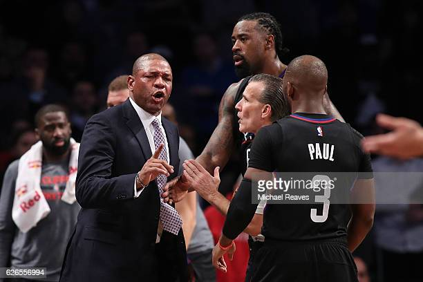 Head coach Doc Rivers of the Los Angeles Clippers argues with referee Ken Mauer after a technical foul call against the Brooklyn Nets in overtime at...